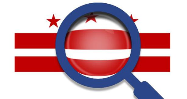 Image of magnifying glass and DC flag